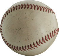 Babe Ruth Single Signed Baseball. An overall clean exemplar of an Official National League orb with commissioner Ford Fr...