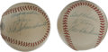 Autographs:Baseballs, Lou Boudreau and Red Schoendienst Single Signed Baseballs Lot of 2.Here we offer a pair of personalized Hall of Fame singl... (Total:2 )