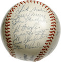 Autographs:Baseballs, 1947 St. Louis Cardinals Team Signed Baseball. Simply stunning example of a team signed ball from the '47 Redbirds, coming ...