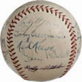 Autographs:Baseballs, 1953 Cleveland Indians Team Signed Baseball. Just one year awayfrom leading his team to an AL pennant, HOF manager Al Lope...