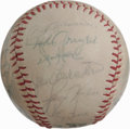 Autographs:Baseballs, 1977 Cleveland Indians Team Signed Baseball. Twenty-seven membersof the 1977 Cleveland Indians have checked in on the base...