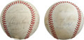 Autographs:Baseballs, 1981-83 Boston Red Sox Team Signed Baseballs Lot of 2. Each of theOAL (MacPhail) orbs that we see here has been team-signe...