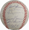 Autographs:Baseballs, 1982 Milwaukee Brewers Team Signed Baseball. The AL pennant winnersfrom 1982 are represented with the OAL (MacPhail) orb w...