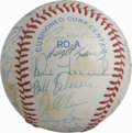 Autographs:Baseballs, 1985 Detroit Tigers Team Signed Baseball. Here we offer 24signatures courtesy of Sparky Anderson's boys, just one year rem...