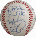 Autographs:Baseballs, 1997 Cleveland Indians Team Signed Baseball. Led by manager MikeHargrove, the 1997 Cleveland Indians made it all the way t...