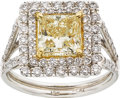 Estate Jewelry:Rings, Fancy Yellow Diamond, Diamond, Platinum, Gold Ring. ...