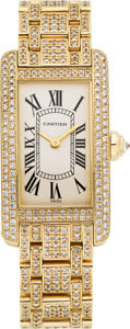 Estate Jewelry:Watches, Cartier Lady's Diamond, Gold Tank Américaine Watch, recent. ...