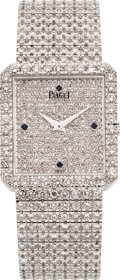 "Estate Jewelry:Watches, Piaget Unisex Diamond, White Gold ""Protocole"" Integral BraceletWristwatch. ..."