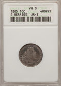 Early Dimes: , 1805 10C 4 Berries VG8 ANACS. NGC Census: (6/221). PCGS Population(11/280). Mintage: 120,780. Numismedia Wsl. Price for pr...