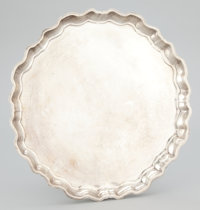 AN AMERICAN SILVER ROUND TRAY WITH SHAPED RIM Ellmore Silver Co., Meriden, Connecticut, circa 1950 Marks: C