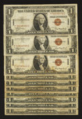 Small Size:World War II Emergency Notes, Fr. 2300 $1 1935A Hawaii Silver Certificates. Ten Examples. Very Good or Better.. ... (Total: 10 notes)
