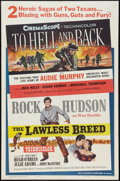 "Movie Posters:War, To Hell and Back/The Lawless Breed Combo (Universal International,R-1960). One Sheet (27"" X 41""). War.. ..."