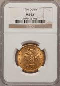 Liberty Eagles: , 1907-D $10 MS62 NGC. NGC Census: (53/18). PCGS Population(175/157). Mintage: 1,030,000. Numismedia Wsl. Price for problem...