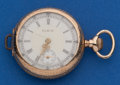 Timepieces:Pocket (post 1900), Elgin 14k Gold Open Face O Size, Fancy Dial. ...