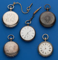 Timepieces:Pocket (pre 1900) , Lot of Five Swiss Key Winds For Parts or Repair. ...