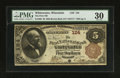 National Bank Notes:Wisconsin, Whitewater, WI - $5 1882 Brown Back Fr. 466 The First NB Ch. # 124. ...