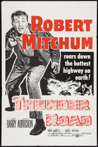 """Thunder Road Lot (United Artists, R-1962). One Sheet (27"""" X 41"""") and Lobby Card (11"""" X 14""""). Crime..."""