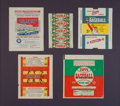 Baseball Cards:Other, 1933-1955 Topps, Bowman and Goudey Wrappers Display (5 Wrappers)...