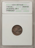 Early Half Dimes, 1797 H10C 15 Stars--Damaged--ANACS. VG8 Details. LM-1. NGC Census:(2/150). PCGS Population (6/167). Mintage: 44,527. Numi...