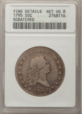 Early Half Dollars: , 1795 50C 2 Leaves--Scratched--ANACS. Fine Details. Net VG8. NGCCensus: (66/691). PCGS Population (139/1037). Mintage: 299,...