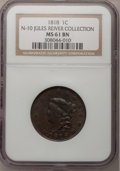 Large Cents: , 1818 1C MS61 Brown NGC. N-10. Ex: Jules Reiver Collection. NGCCensus: (24/294). PCGS Population (14/256). Mintage: 3,167,...