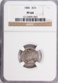 Proof Three Cent Nickels: , 1886 3CN PR64 NGC. NGC Census: (246/562). PCGS Population(358/615). Mintage: 4,290. Numismedia Wsl. Price for problemfree...