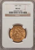 Liberty Eagles, 1887 $10 MS62 NGC....