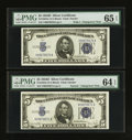Small Size:Silver Certificates, Fr. 1654 $5 1934D Silver Certificates. Wide I/Narrow Changeover Pair. PMG Gem Uncirculated 65 EPQ/Choice Uncirculated 64 EPQ.... (Total: 2 notes)