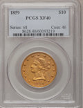 Liberty Eagles: , 1859 $10 XF40 PCGS. PCGS Population (20/60). NGC Census: (15/128).Mintage: 16,093. Numismedia Wsl. Price for problem free ...