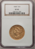 Liberty Eagles: , 1868 $10 XF45 NGC. NGC Census: (35/76). PCGS Population (36/58).Mintage: 10,665. Numismedia Wsl. Price for problem free NG...