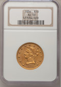 Liberty Eagles: , 1856 $10 AU53 NGC. NGC Census: (36/172). PCGS Population (18/66).Mintage: 60,490. Numismedia Wsl. Price for problem free N...