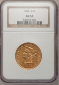 Liberty Eagles: , 1854 $10 AU53 NGC. NGC Census: (32/118). PCGS Population (5/32).Mintage: 54,250. Numismedia Wsl. Price for problem free NG...