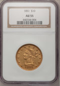 Liberty Eagles: , 1851 $10 AU55 NGC. NGC Census: (54/51). PCGS Population (7/13).Mintage: 176,328. Numismedia Wsl. Price for problem free NG...