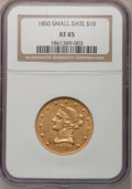 Liberty Eagles: , 1850 $10 Small Date XF45 NGC. NGC Census: (26/72). PCGS Population(22/36). Numismedia Wsl. Price for problem free NGC/PCG...