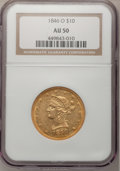 Liberty Eagles: , 1846-O $10 AU50 NGC. NGC Census: (7/38). PCGS Population (3/7).Mintage: 81,780. Numismedia Wsl. Price for problem free NGC...
