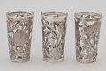 Silver Smalls:Other , THREE MEXICAN GLASSES WITH SILVER OVERLAY . Maker unidentified,Mexico, circa 1950. Marks: HECHO EN MEXICO D.F. 0.925 (c...(Total: 3 Items)