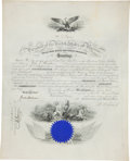 "Autographs:U.S. Presidents, Ulysses S. Grant Naval Appointment Signed ""U. S. Grant"" as president. One partially-printed vellum page, 16"" x 19.75"", W..."