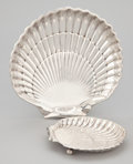 Silver Holloware, American:Plates, TWO AMERICAN SILVER SHELL FORM DISHES . Gorham Manufacturing Co.,Providence, Rhode Island, circa 1942. Marks: GORHAM (l...(Total: 2 Items)