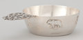 Silver Holloware, American:Bowls, AN AMERICAN SILVER PORRINGER WITH APPLIED ANIMALS . WallaceSilversmiths, Inc., Wallingford, Connecticut, circa 1950. Marks:...
