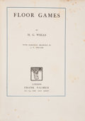 Books:Science Fiction & Fantasy, H. G. Wells. Floor Games. London: Frank Palmer, [1911]. First edition. Octavo. 71 pages. Publisher's blue cloth with...