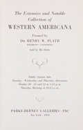 Books:Books about Books, [Books About Books]. [Henry W. Plath]. The Extensive and NotableCollection of Western Americana Formed by Dr. Henry W. ...