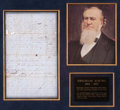 "Autographs:Statesmen, Brigham Young Bill of Sale Signed regarding church property in SaltLake City. One page (blue paper), 7.5"" x 12.25"", ""..."