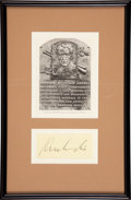 Baseball Collectibles:Others, Kenesaw Mountain Landis Signed Cut Signature Display....