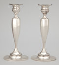 Silver Holloware, American:Candle Sticks, A PAIR OF AMERICAN SILVER CANDLESTICKS. Maker unknown, American,circa 1950. Marks: STERLING, CEMENT FILLED, B12, MADE FOR...(Total: 2 Items)