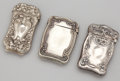 Silver Smalls:Match Safes, THREE AMERICAN SILVER MATCH SAFES . Maker unknown, American, circa1900. Marks for match safe with daisies: STERLING. 2-...(Total: 3 Items)