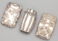 Silver Smalls:Match Safes, THREE AMERICAN SILVER MATCH SAFES . Maker unknown, American, circa1900. Marks for match safe with dragon: STERLING. 2-1...