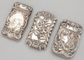 Silver Smalls:Match Safes, THREE AMERICAN SILVER MATCH SAFES . Maker unknown, American, circa1900. Marks for match safe with dragon: STERLING. 2-1...(Total: 3 Items)