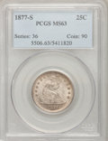 Seated Quarters: , 1877-S 25C MS63 PCGS. PCGS Population (73/134). NGC Census:(59/123). Mintage: 8,996,000. Numismedia Wsl. Price for problem...