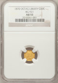 California Fractional Gold: , 1870 50C Liberty Octagonal 50 Cents, BG-921, Low R.5, AU55 NGC. NGCCensus: (1/2). PCGS Population (7/32). (#10779)...