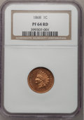 Proof Indian Cents: , 1868 1C PR64 Red NGC. NGC Census: (14/10). PCGS Population (27/9). Mintage: 600. Numismedia Wsl. Price for problem free NGC...
